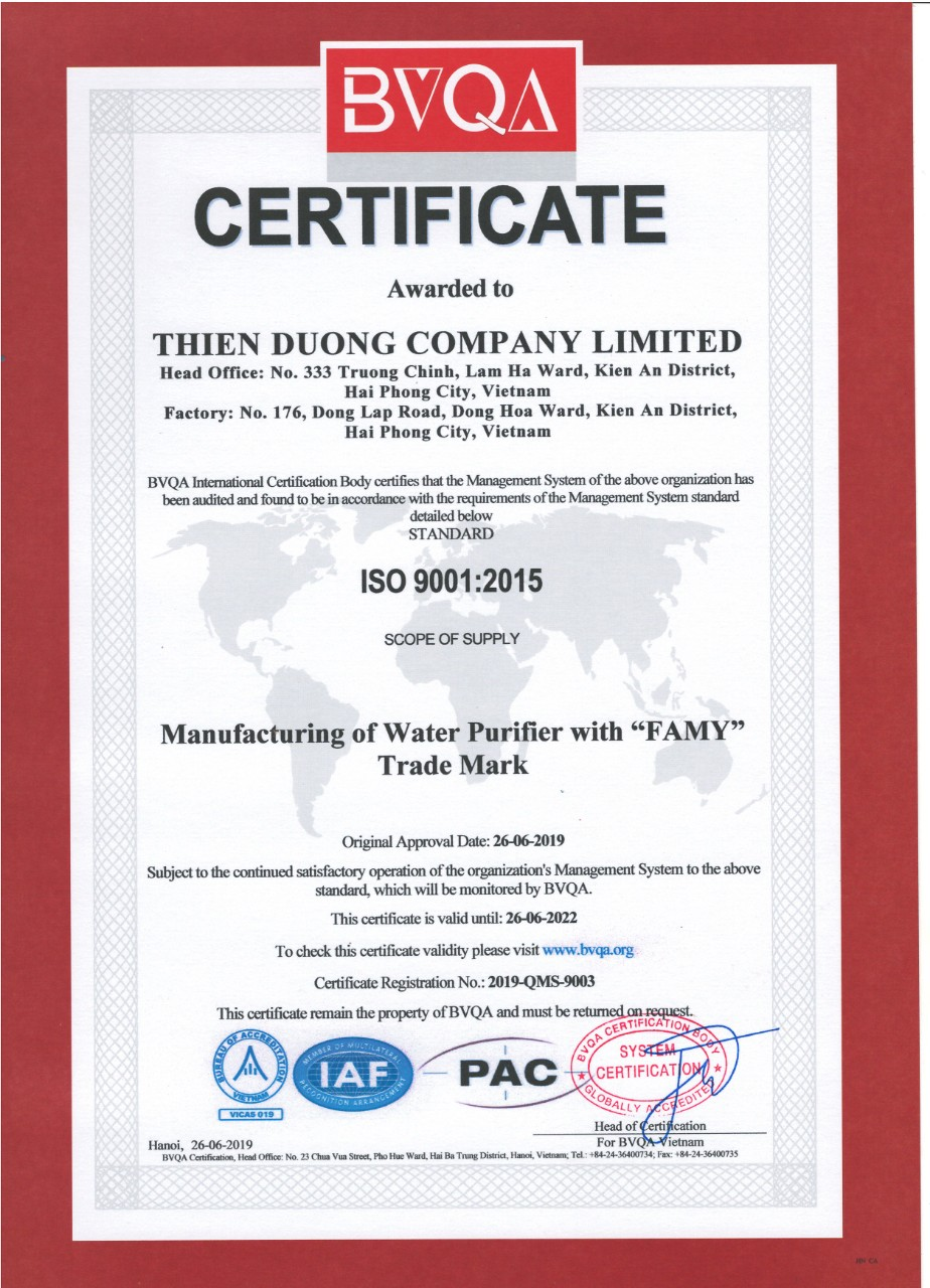 Máy lọc nước Famy đạt chứng chỉ ISO 9001:2015