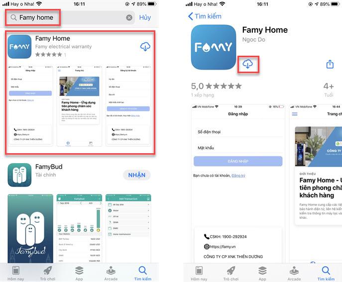 Tìm kiếm Famy Home trên App Store và cài đặt