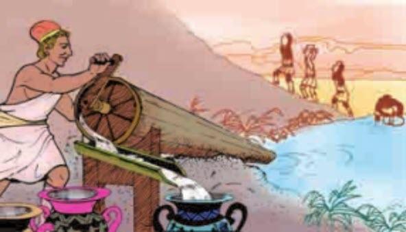 Cách sử dụng máy bơm trục vít thời cổ đại