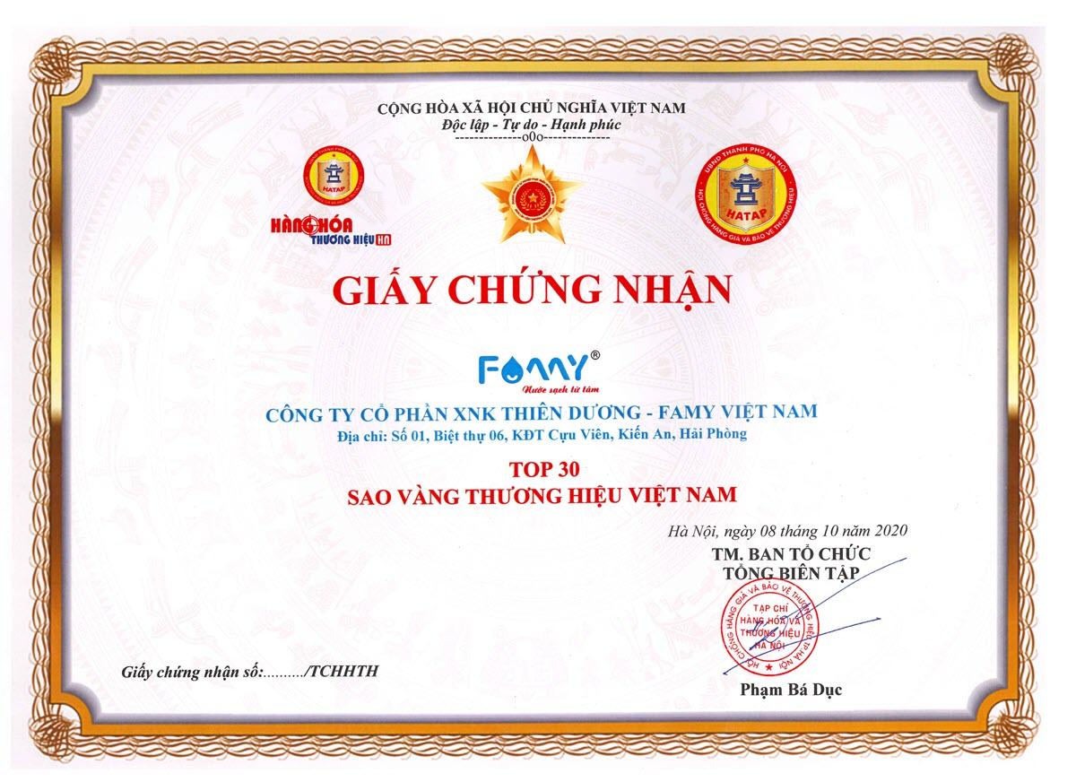 Máy lọc nước Famy được bình chọn vào top 30 giải thưởng Sao vàng Việt Nam