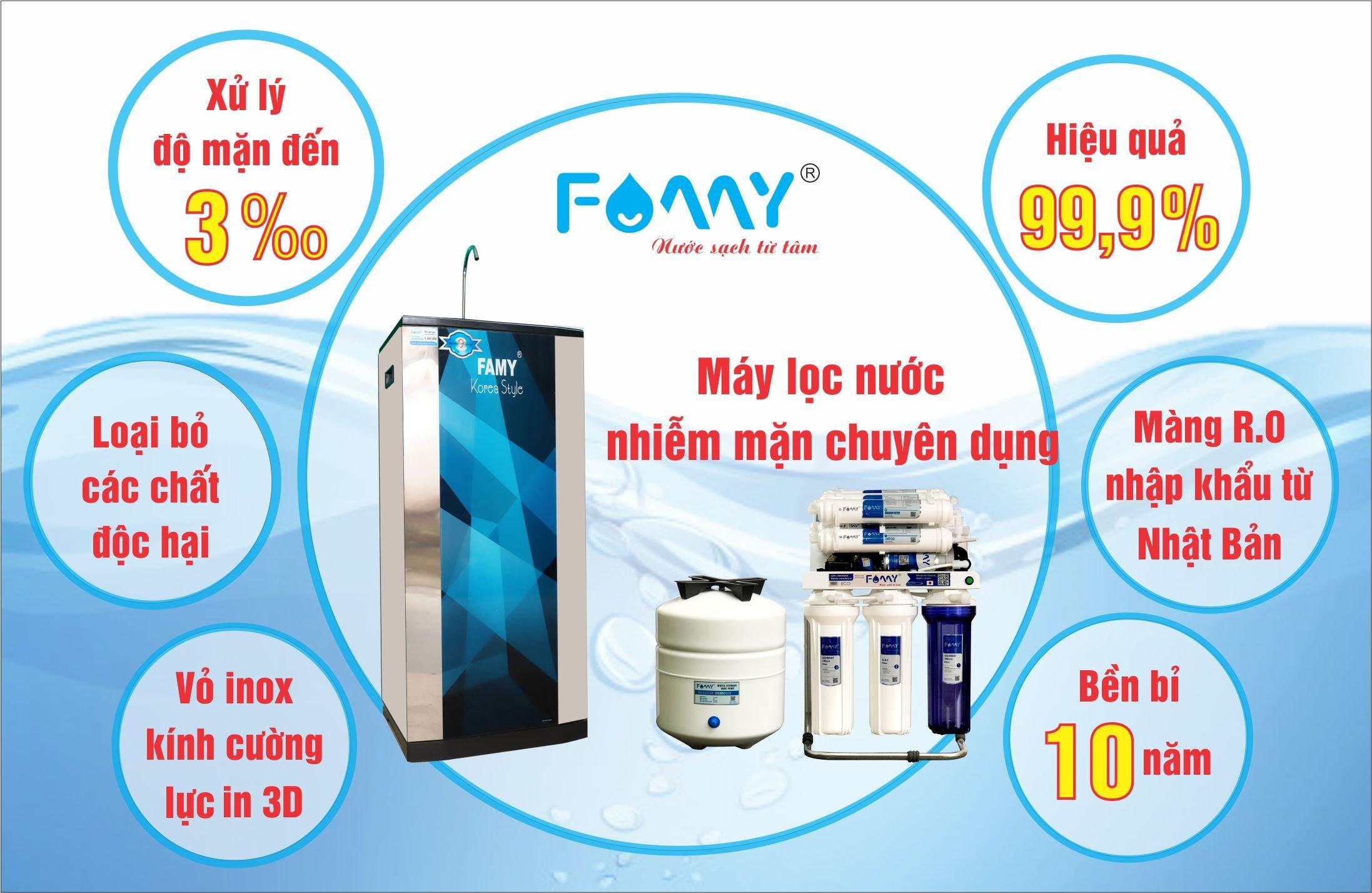 Máy lọc nước nhiễm mặn chuyên dụng Famy ECO-M2IQ-A có hiệu quả lọc lên đến 99.9%