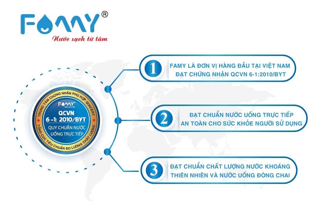 Famy - Máy lọc nước số 1 Việt Nam hợp quy Quy chuẩn kỹ thuật quốc gia về nước uống trực tiếp