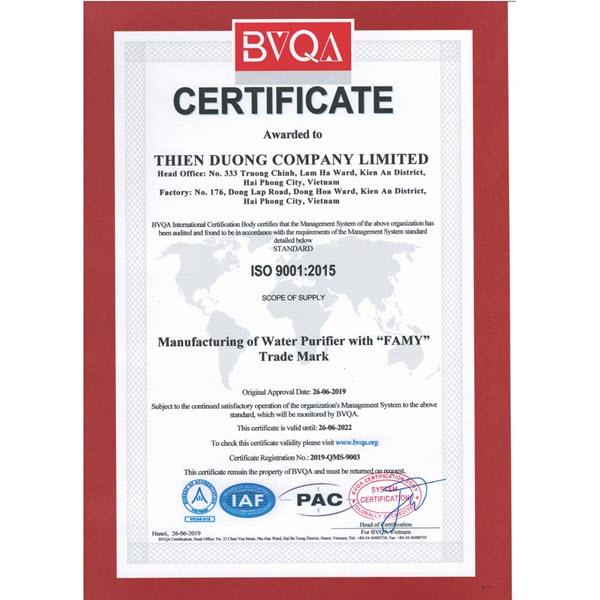 Máy lọc nước Famy đạt chứng nhận ISO 9001:2015
