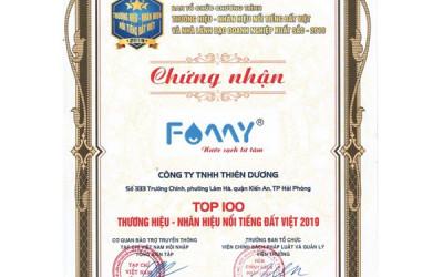 Famy vào Top 100 thương hiệu nổi tiếng Đất Việt 2019