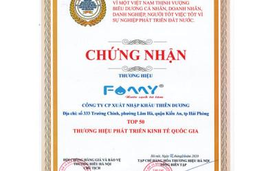 Famy Việt Nam vào Top 50 thương hiệu phát triển kinh tế quốc gia 2020