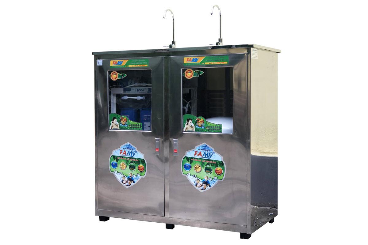 Máy lọc nước RO bán công nghiệp FAMY FA50IQ-2 công suất 50 lít/giờ tủ đôi inox 2 vòi