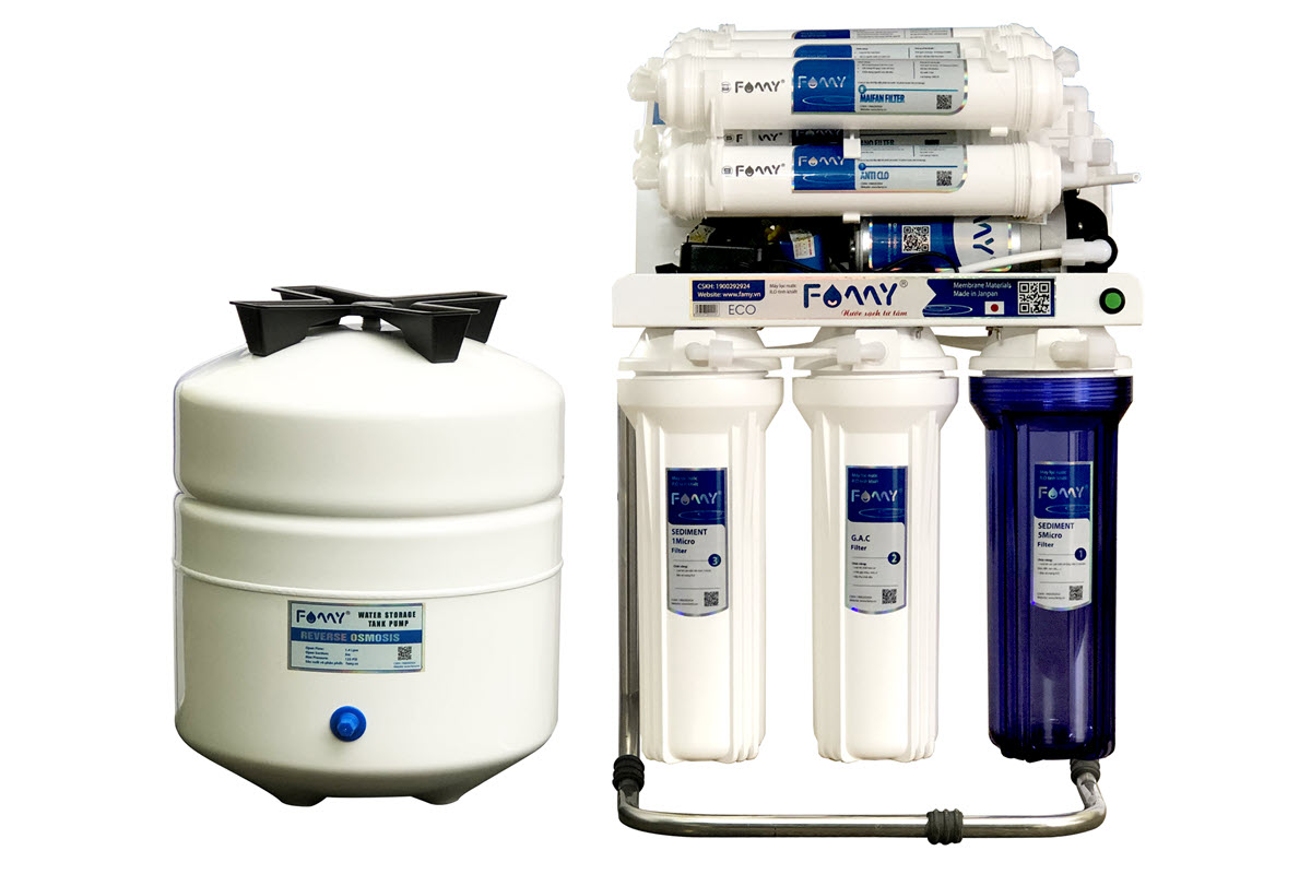 Máy lọc nước Famy ECO9-HA 9 cấp lọc bơm hút lắp tủ bếp
