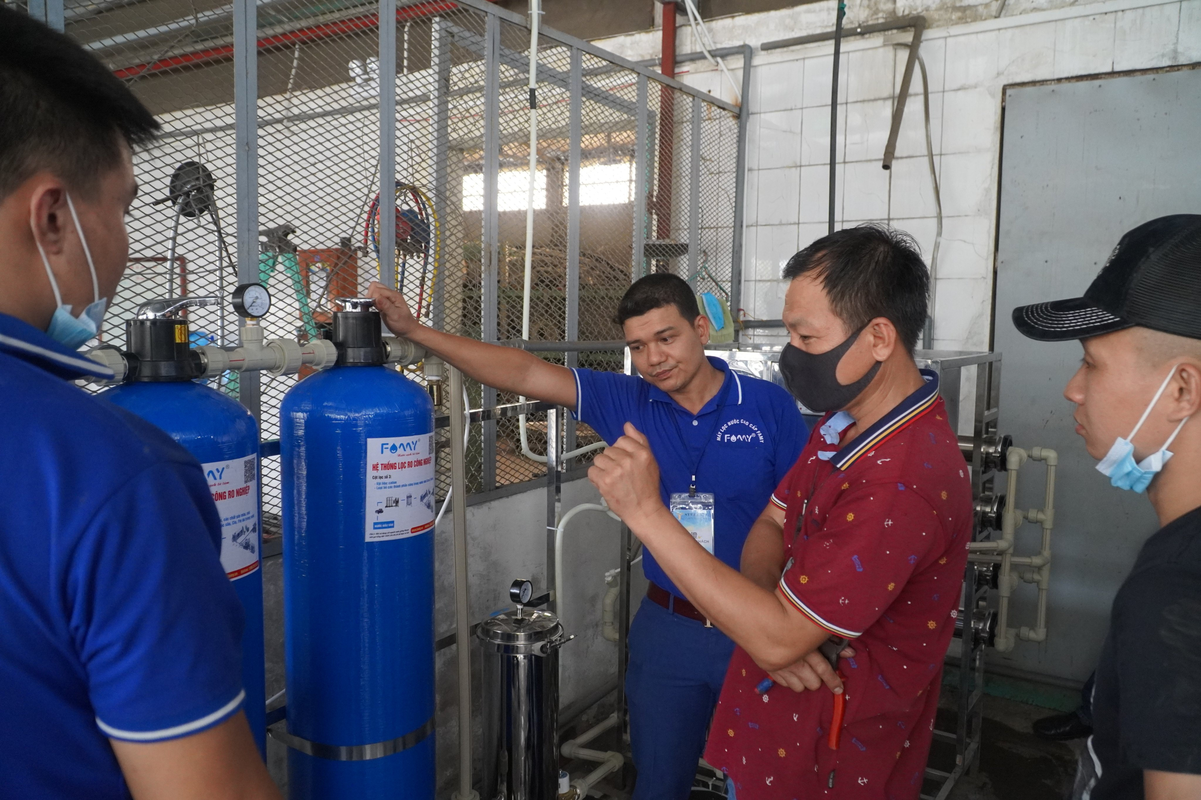 Máy lọc nước công nghiệp RO 1000L/H của Famy tại công ty giày Sao Vàng