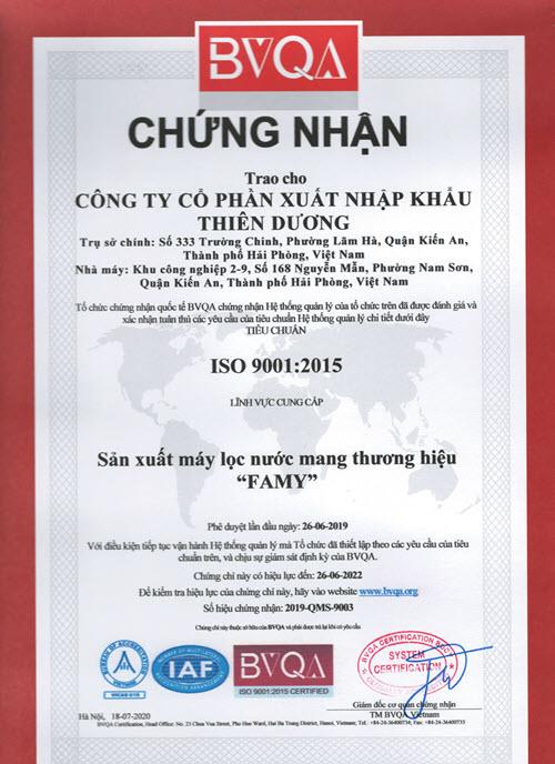 Famy Việt Nam - Công ty Thiên Dương nhận chứng chỉ ISO 9001:2015