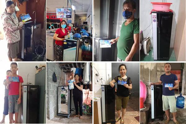 Các khách hàng đã mua máy lọc nước Famy được hỗ trợ mùa dịch Covid 19