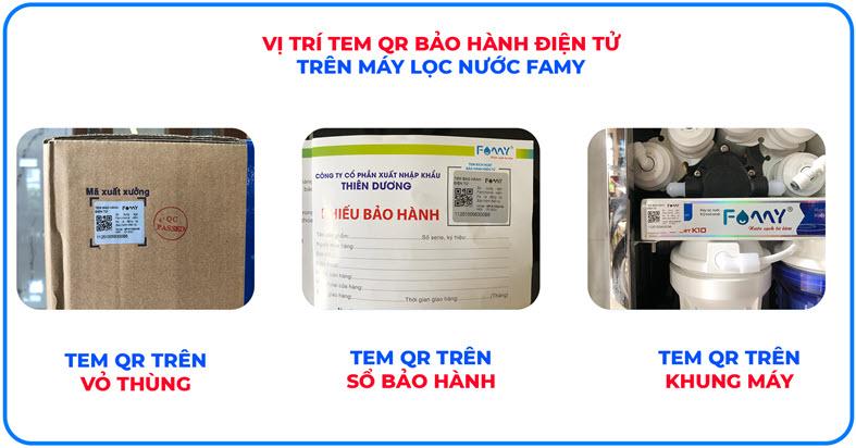 Vị trí tem QR bảo hành điện tử trên Máy lọc nước Famy